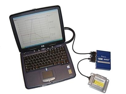 HP laptop, Vetronix blue version CDR tool, cables, GM air bag SDM module